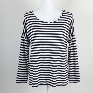 Charming Charlie Long Sleeve Black Striped Top